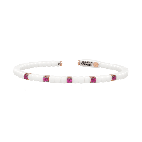 White Ceramic Dado Bracelet with Five Colored Stones