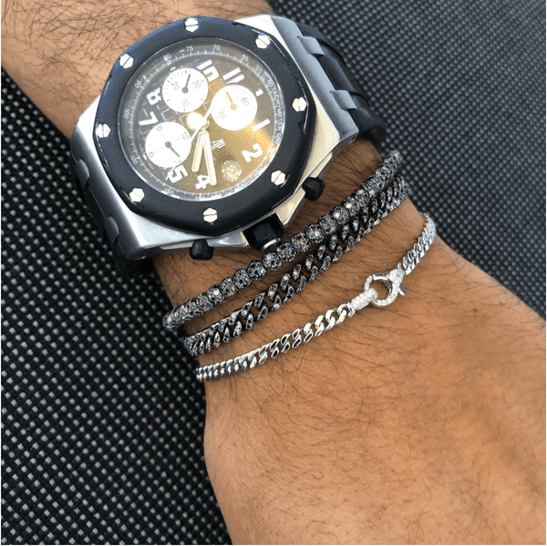 Men's Black & White Diamond Stretch Bracelet