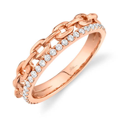 IN STOCK - Curb Chain Stack Band Rose Gold Size 7