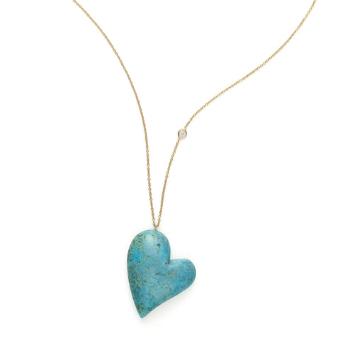 """Self Love"" Yellow Gold Turquoise Heart Necklace"