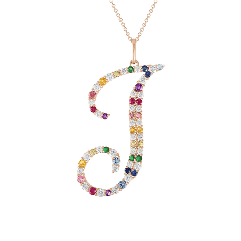 Rainbow Initial Statement Necklace