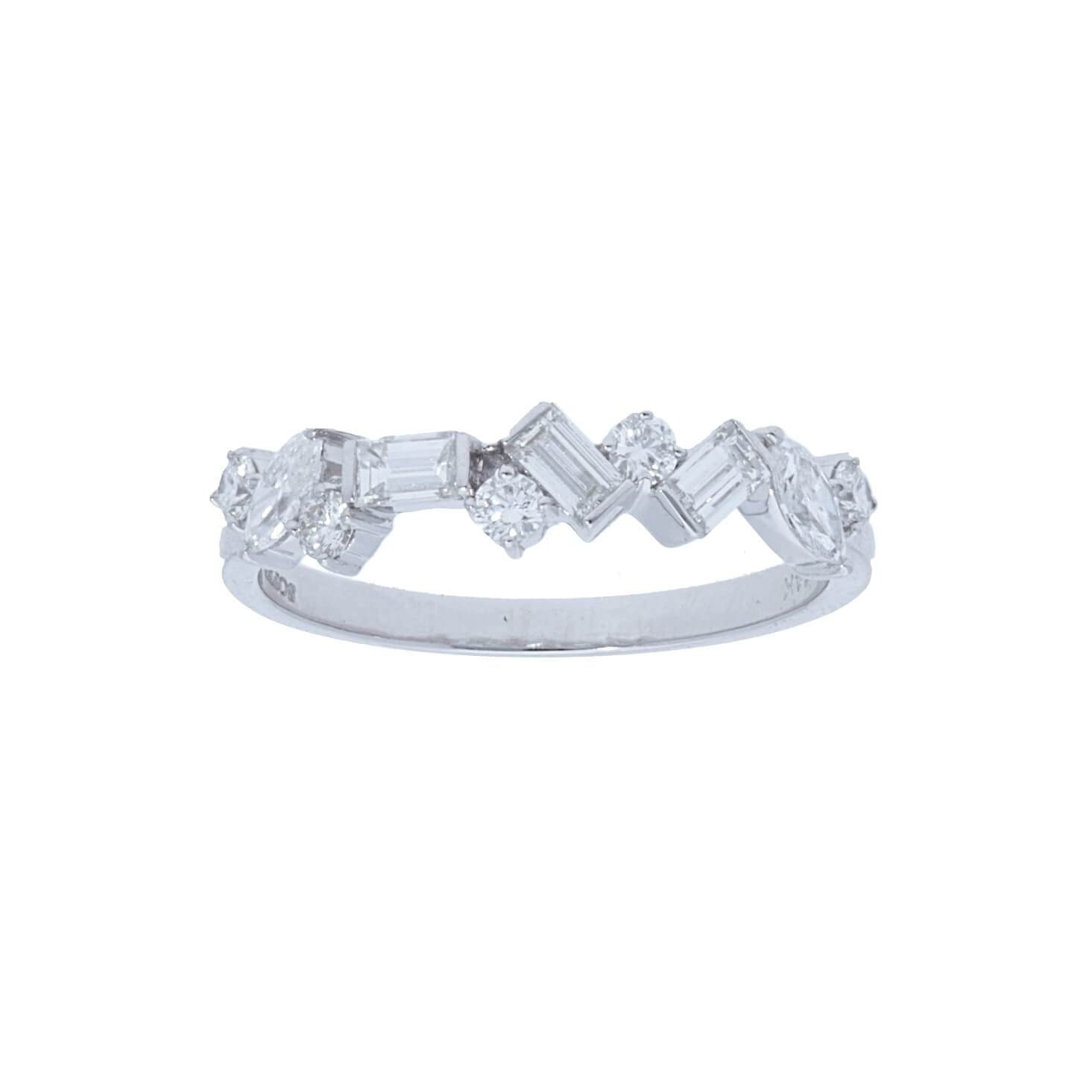 Alternating Baguette & Round Diamond Halfway Band