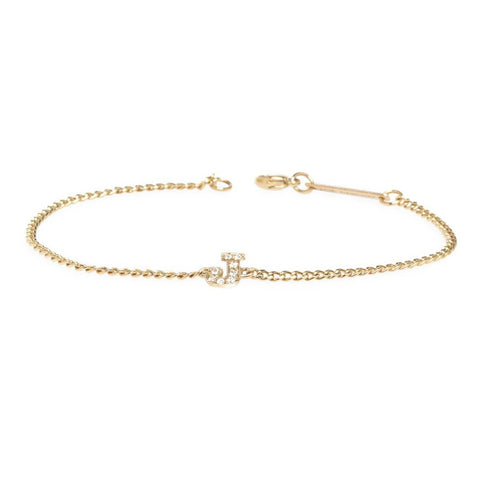 Curb Chain Bracelet with Single Pave Initial