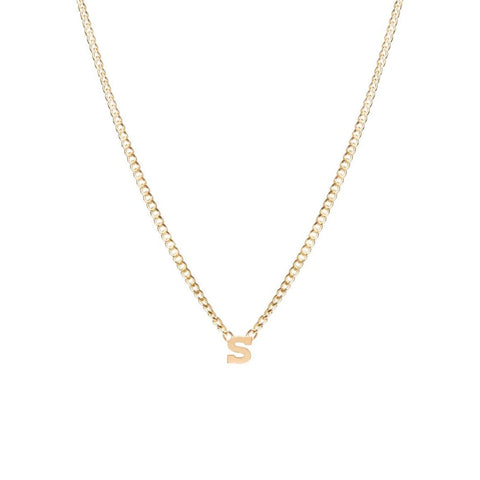 Curb Chain Necklace with Single Initial