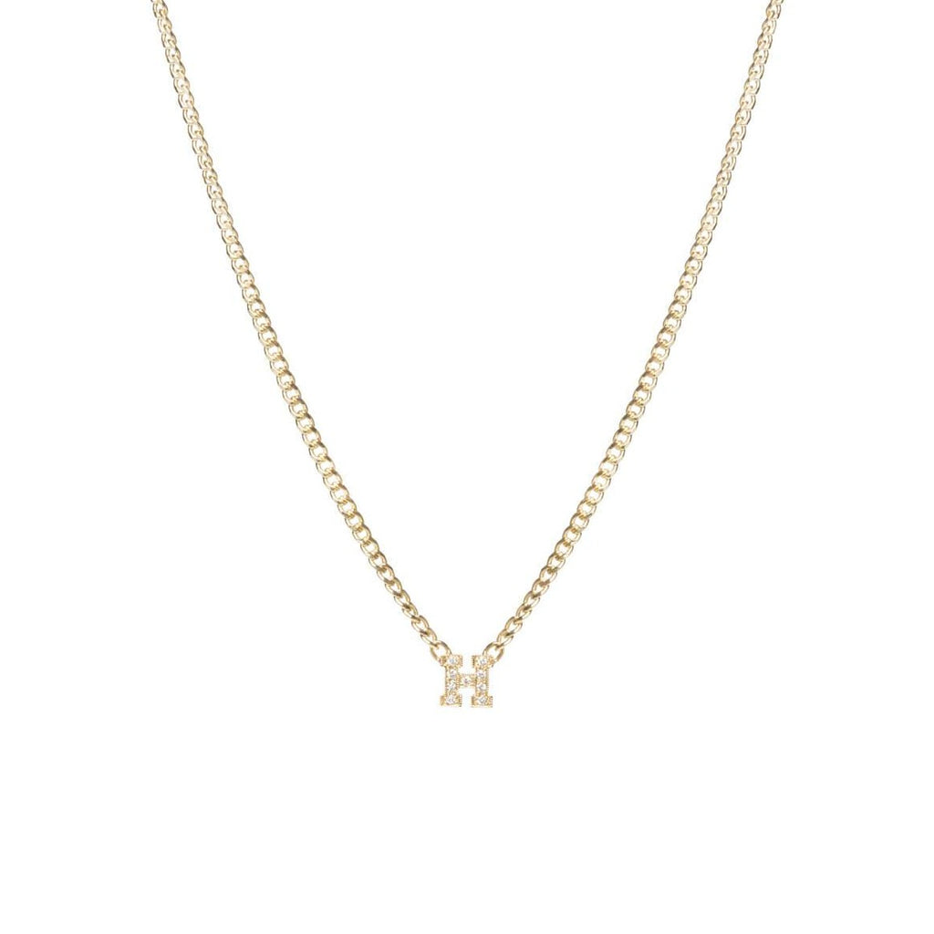 Curb Chain Necklace with Single Pave Initial