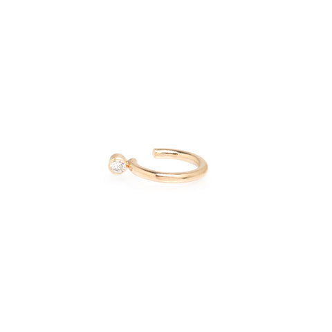 Gold Ear Cuff with Single Diamond Bezel