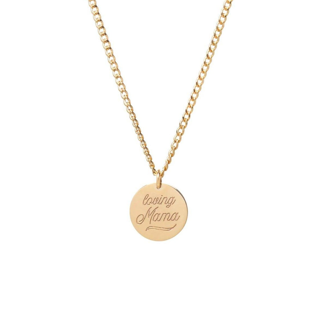 Engraved Script Small Disc Charm Necklace