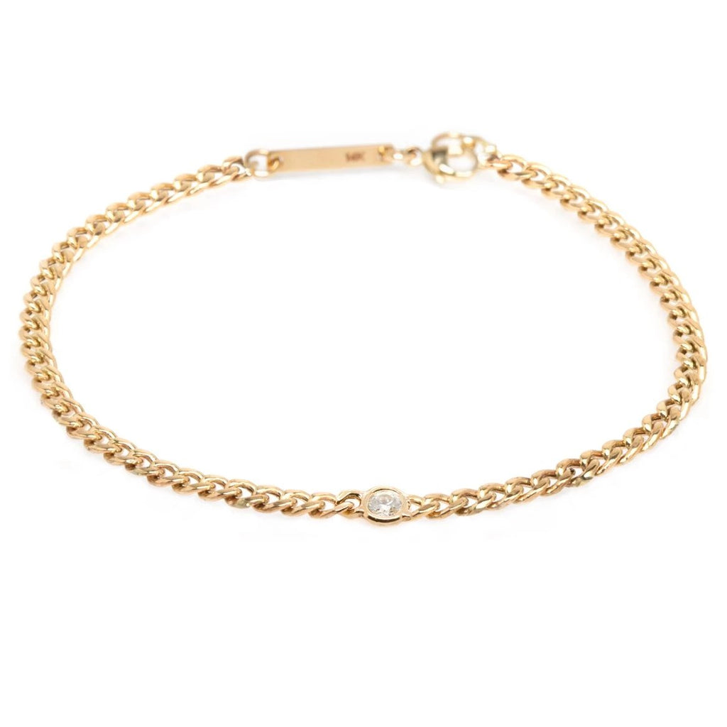 Small Curb Chain Bracelet with Single Floating Diamond