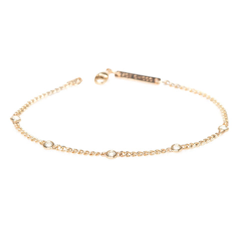 Extra Small Curb Chain Bracelet with Five Floating Diamonds