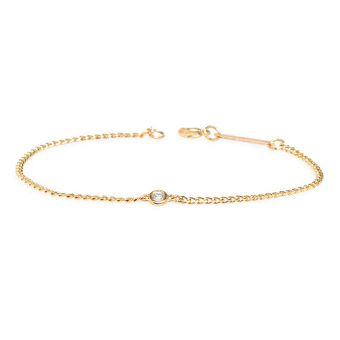 Extra Small Curb Chain Bracelet with Single Floating Diamond