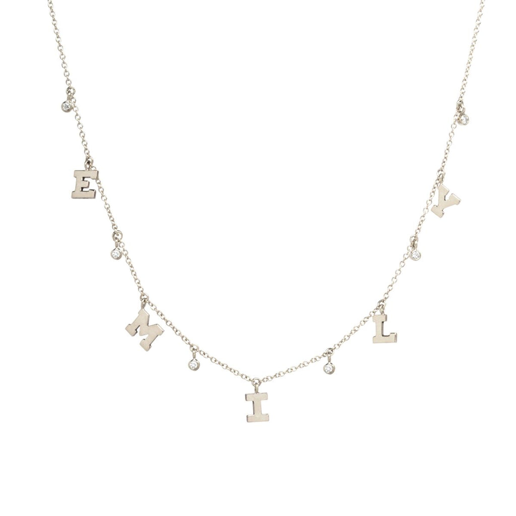 Dangling Initial and Diamond Necklace