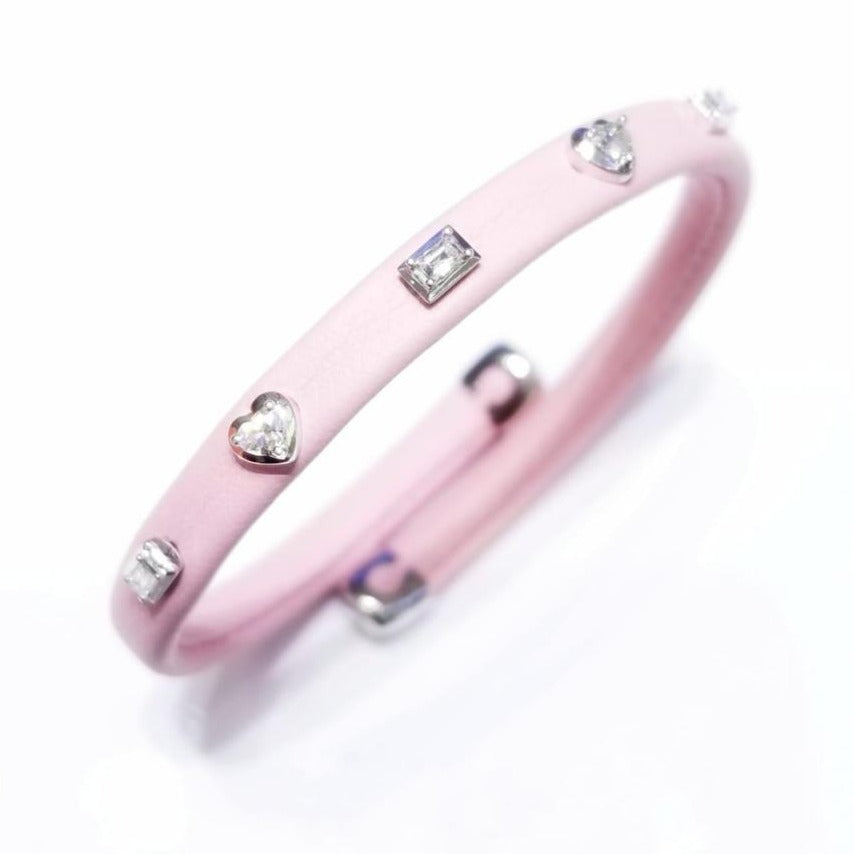 Leather Bracelet with Mixed Shape Diamond