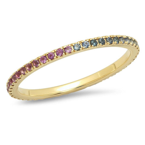 Blue Sapphire and Purple Amethyst Eternity Band