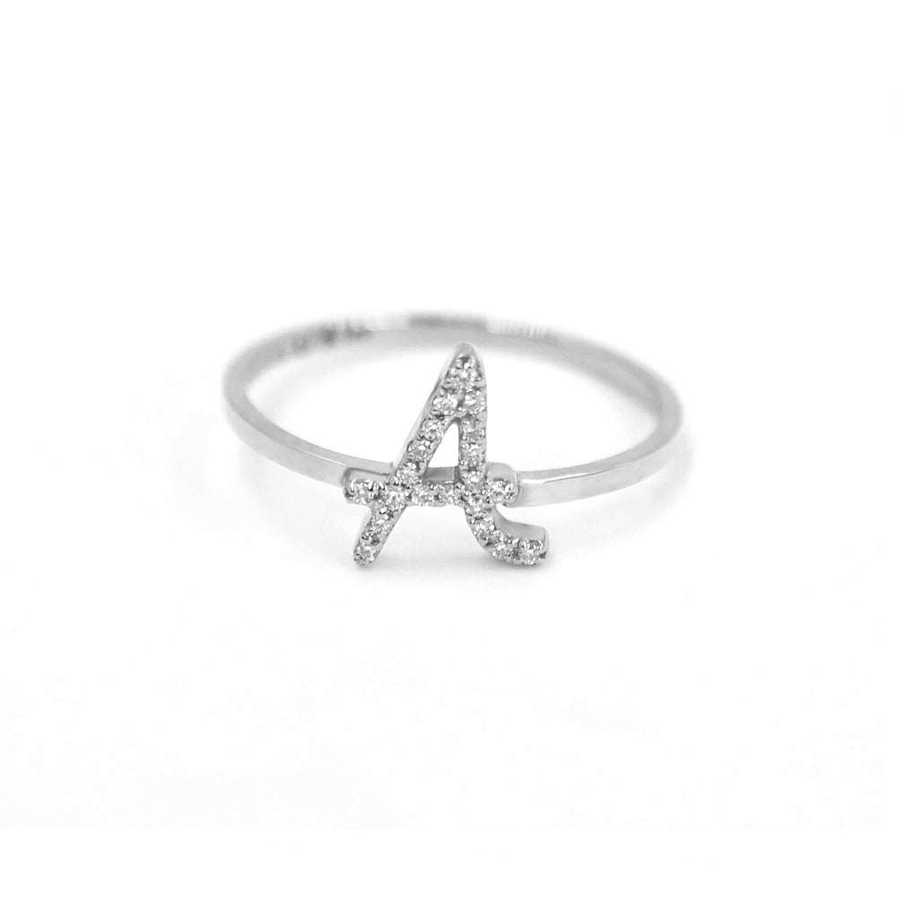 Roman Initial Pave Ring