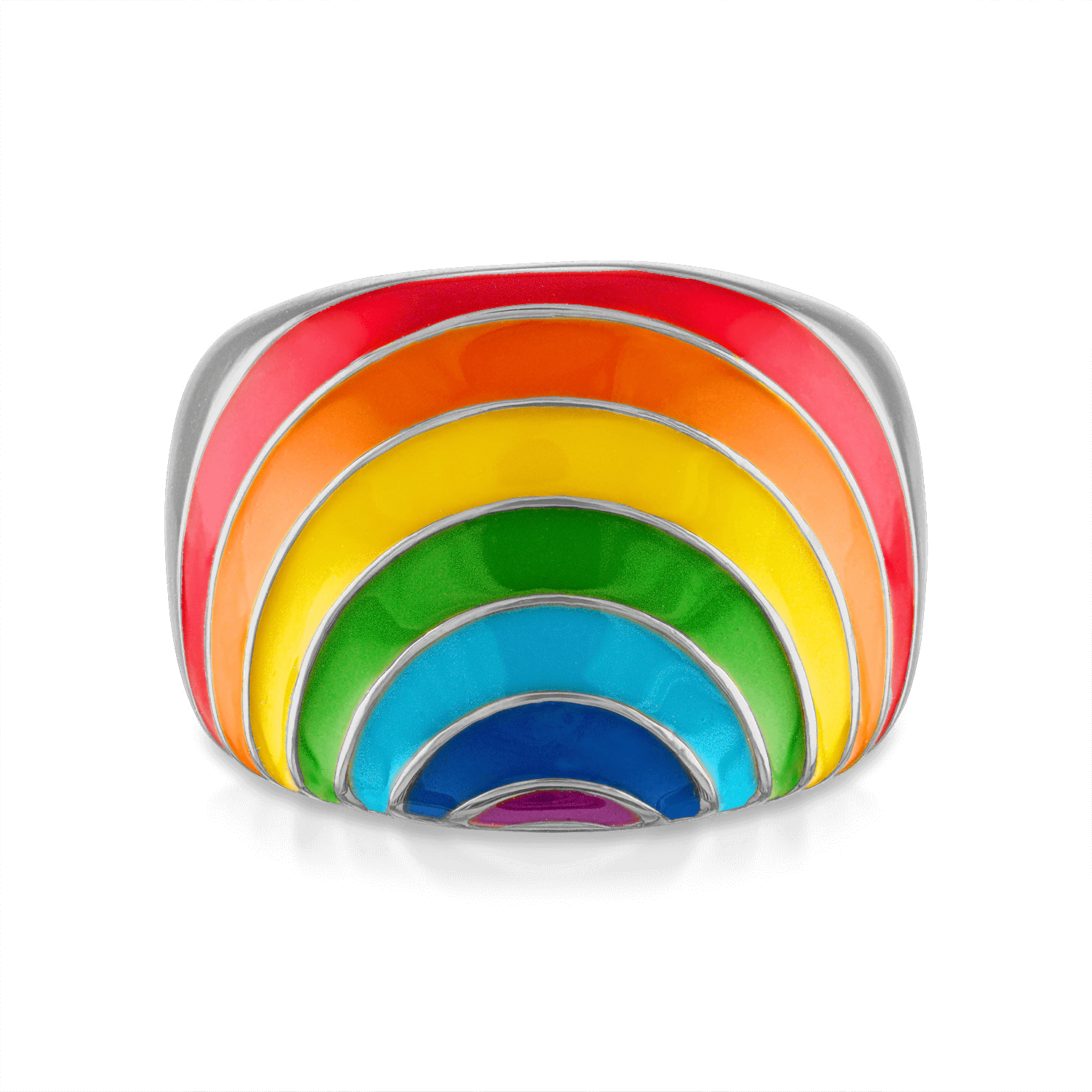 Rainbow Enamel Signet Ring