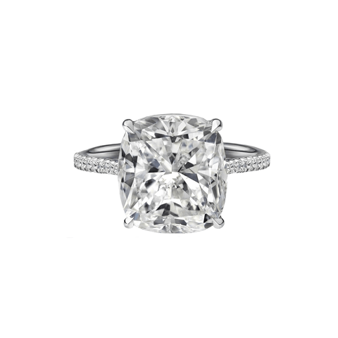 6.89 Carat Cushion Cut Engagement Ring with Diamond Pavé