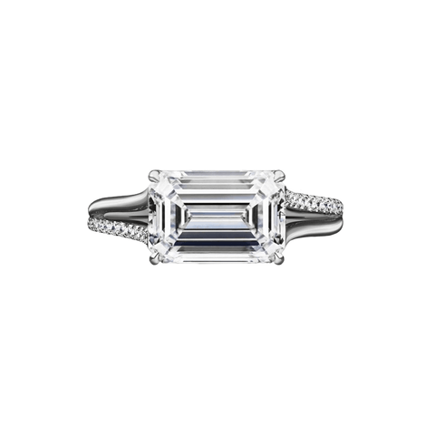 2.02 Carat East-West Emerald Cut Engagement Ring with Split Shank