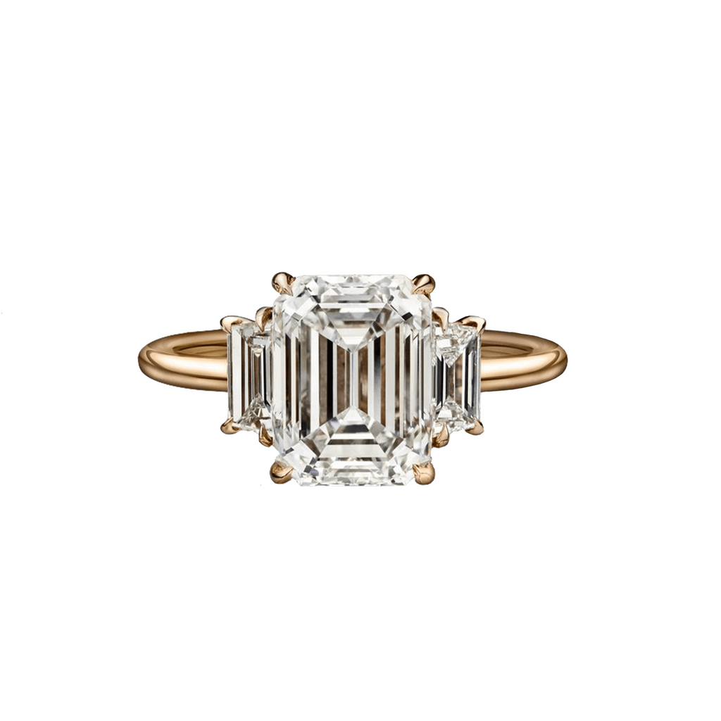 3.03 Carat Emerald Cut Engagement Ring with Trapezoids