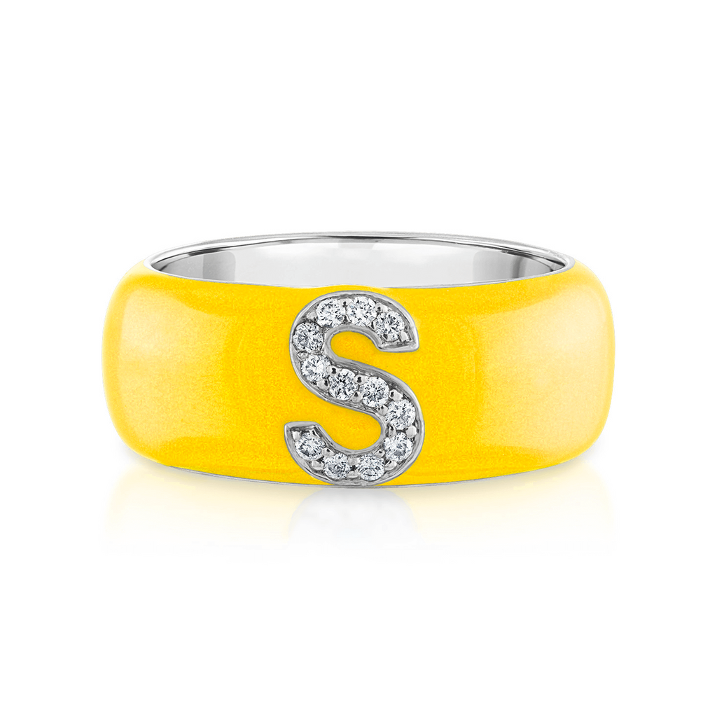 Enamel and Diamond Initial Cigar Band