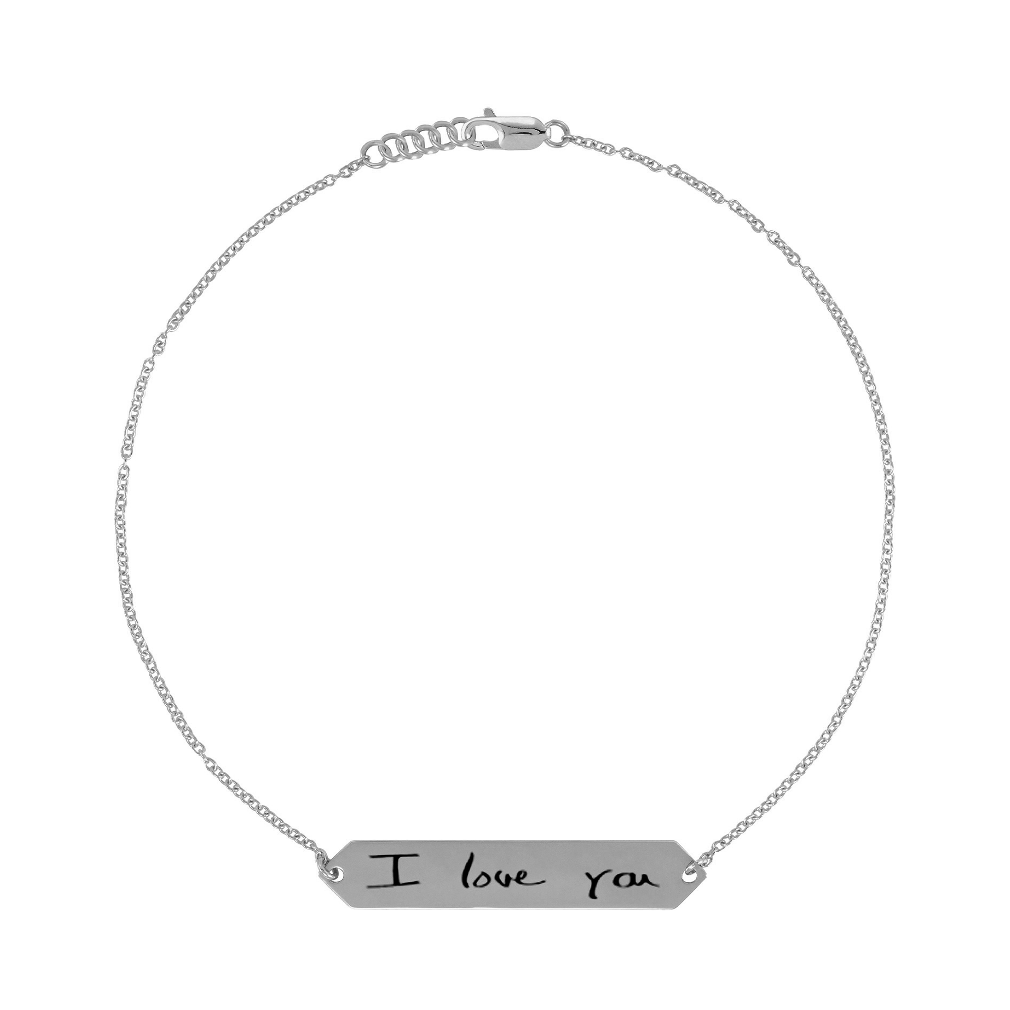 Handwriting Engraved Bar Bracelet