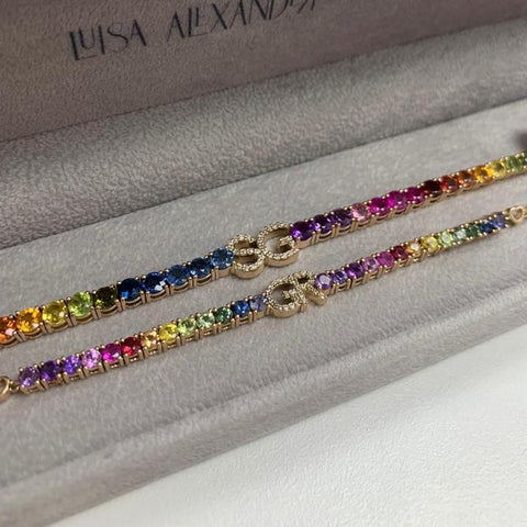 Mommy and Me Rainbow Initial Tennis Bracelet