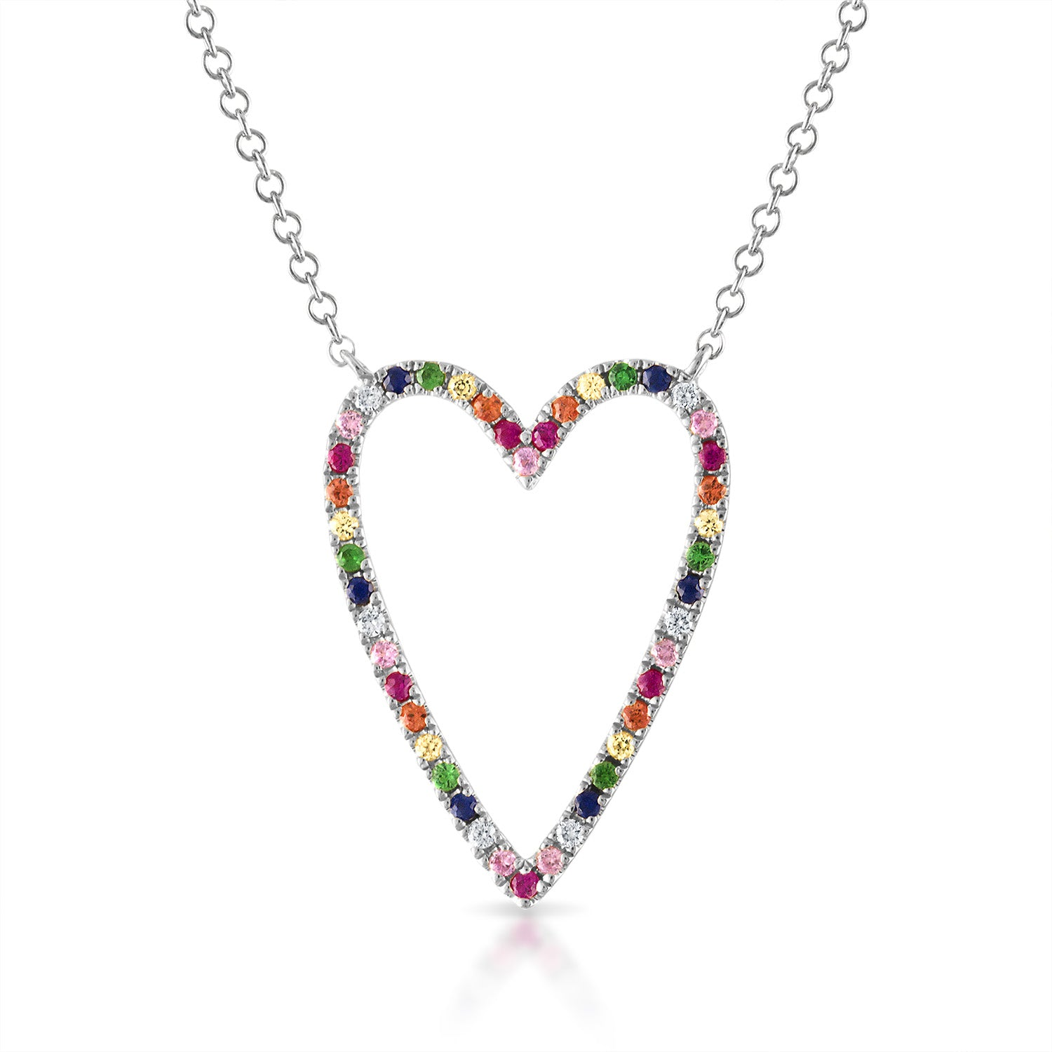 Rainbow Pave Heart Shaped Outline Necklace