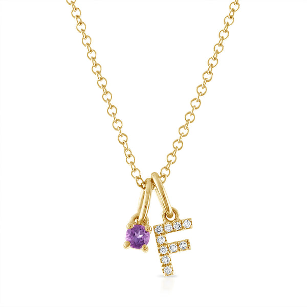 Birthstone Initial Charm Necklace