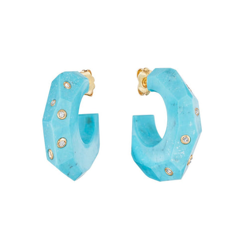 Turquoise Facet Stone Hoops