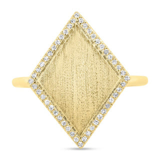 Gold Diamond Shape Ring with Pave Outline