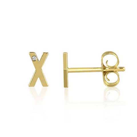 Mini Initial Studs with Single Diamond