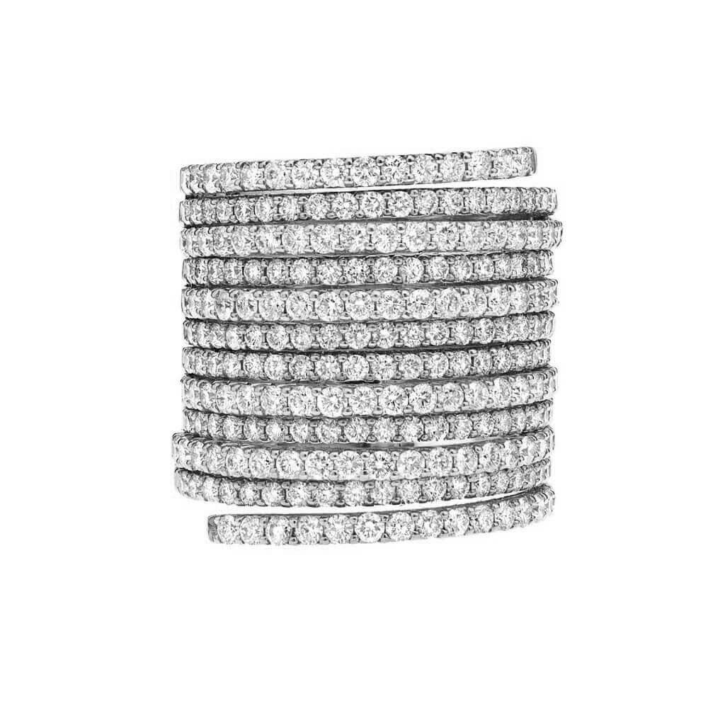 Multi Row Pave Wrap Ring
