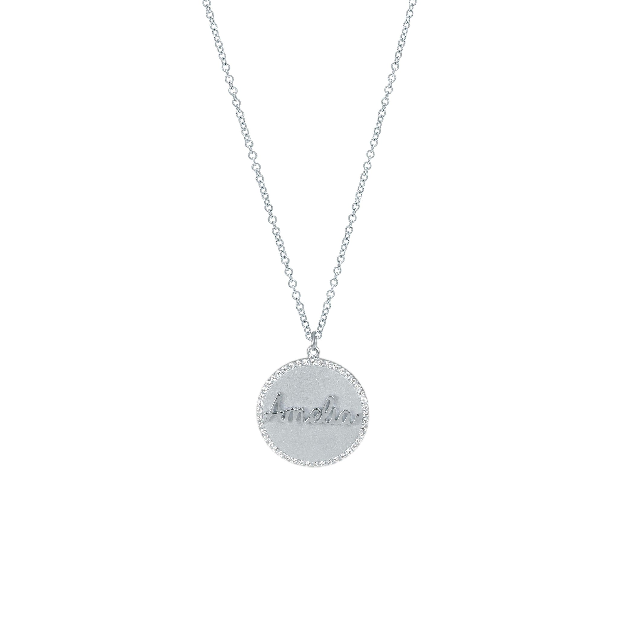 Treasure Disk Diamond Script Name Necklace