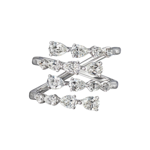 Horizontal Pear Shape Diamond Spiral Ring