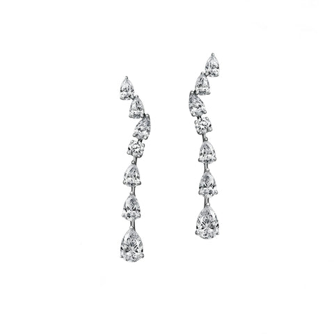 Single Strand Pear Shape Diamond Drop Earrings