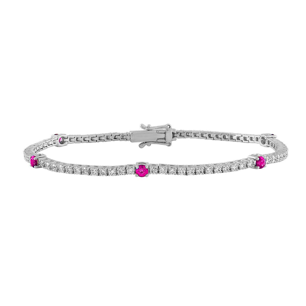 Alternating Diamond and Colored Stone Tennis Bracelet