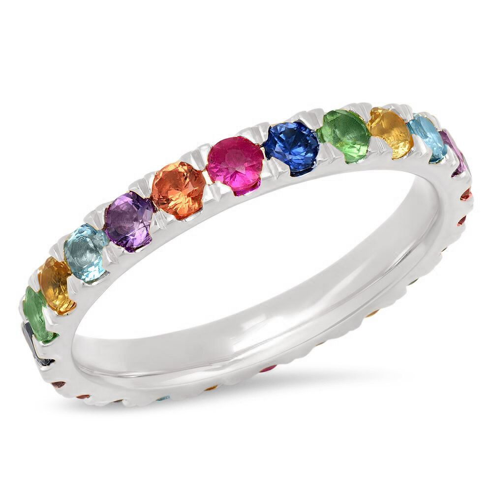 Large Multicolored Gemstone Ring