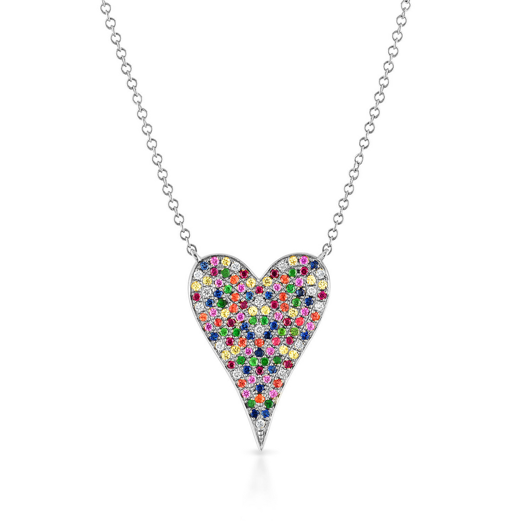 Medium Pave Rainbow Heart Necklace