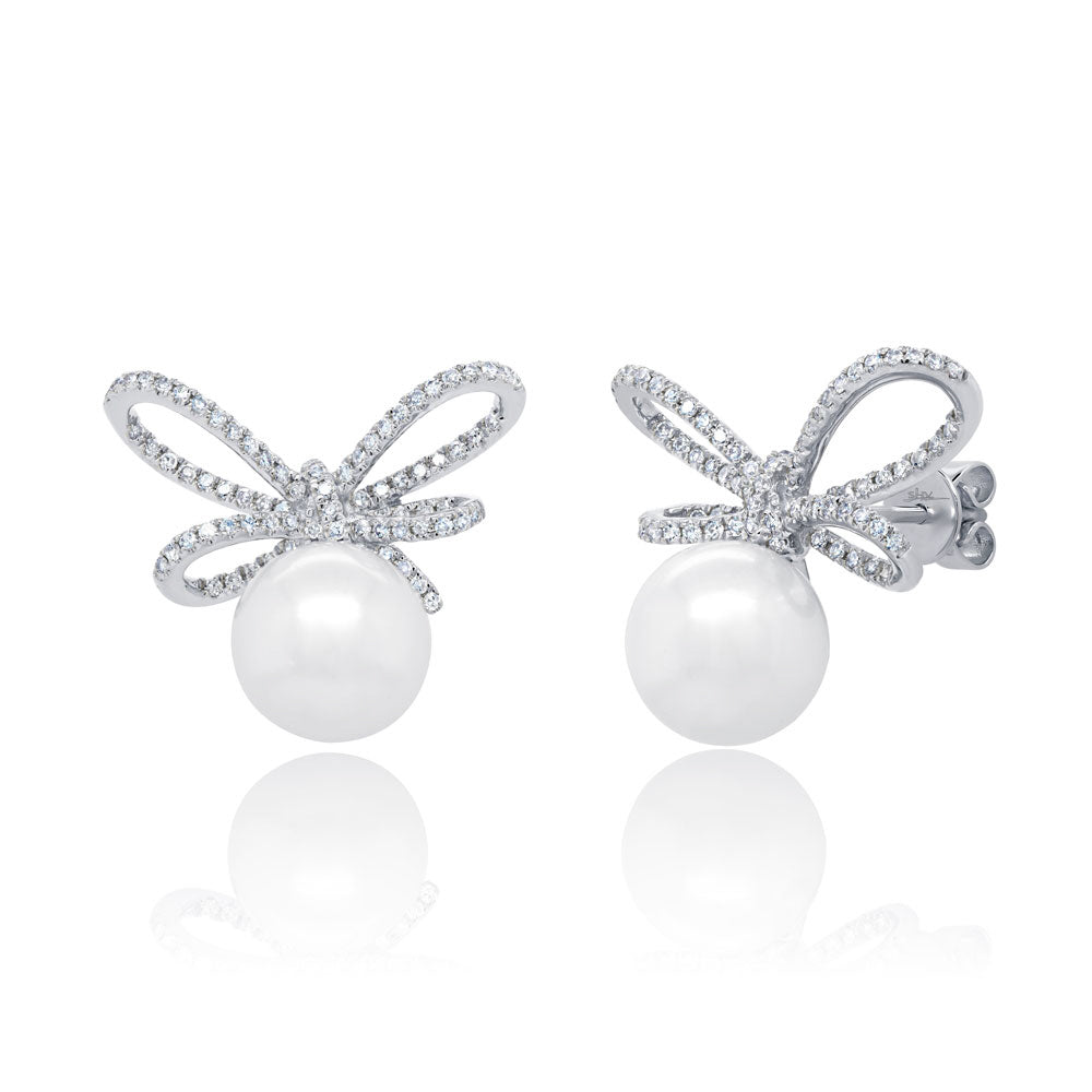 Pearl and Diamond Bow Stud Earrings
