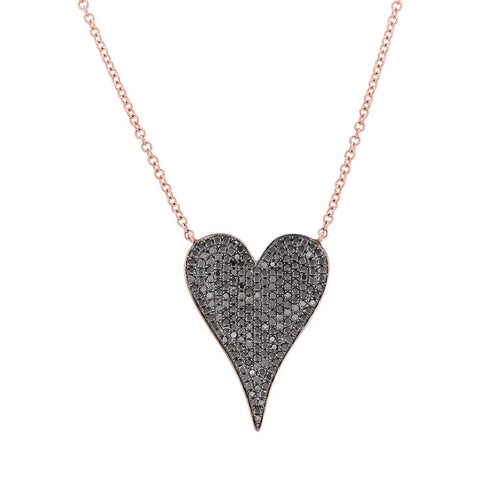 Black Diamond Medium Heart Necklace