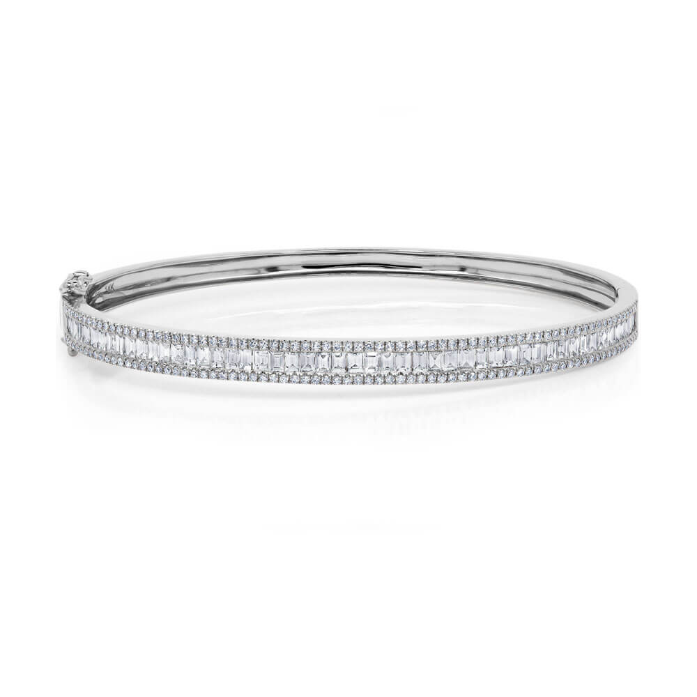 Pave Edge Diamond Baguette Bangle