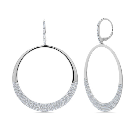 Half Pave Circle Earrings