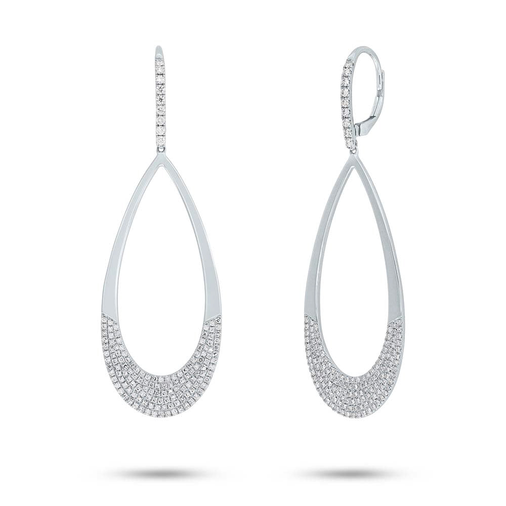Half Pave Pear Shaped Earrings