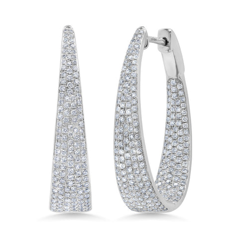 Diamond Pave Oval Hoop Earrings