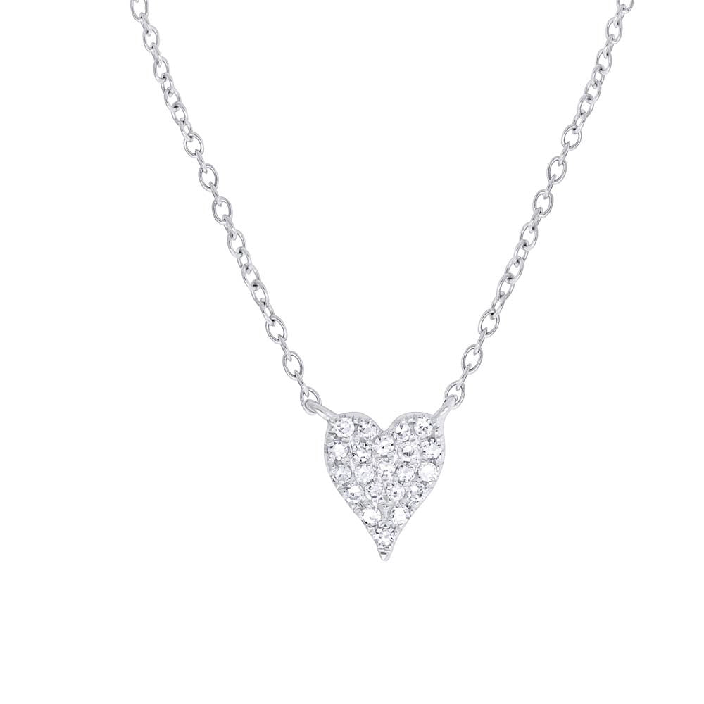 Mini Pave Heart Elongated Necklace