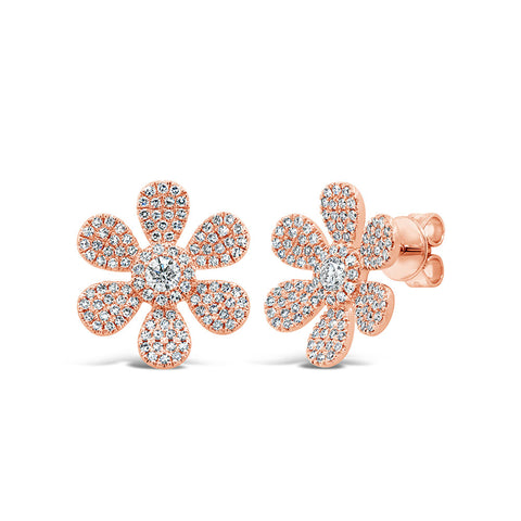 Large Pave Flower Stud