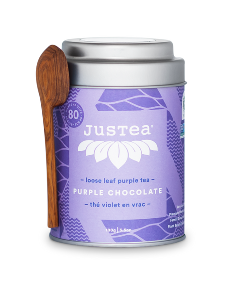 JusTea - Purple Chocolate Tin With Spoon