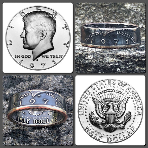 1971-2018 JFK Half Dollar Coin Ring - Hand Made USA - Sizes 7.0 - 15