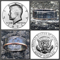 1971-2019 JFK Half Dollar Coin Ring - Hand Made USA - Sizes 7.0 - 15