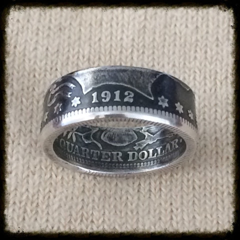 Early 1900's Barber Quarter - Female Sized Coin Ring Sizes 5 - 8.5
