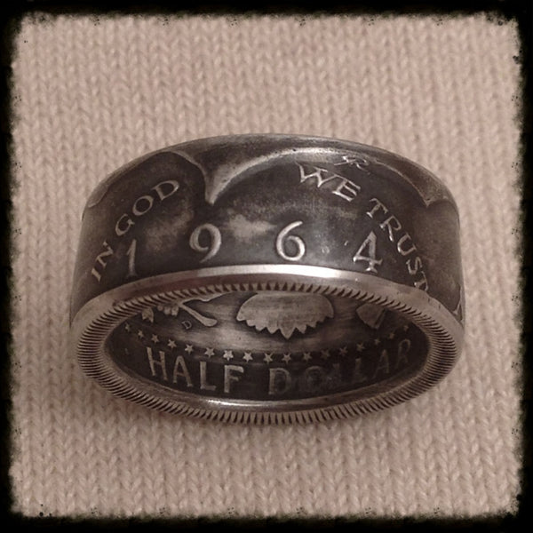 1964 Jfk 90 Silver Coin Ring Hand Made Usa Sizes 7